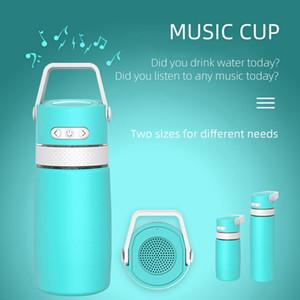 Интеллектуальная музыка Bluetooth бутылки воды 350мл спикер нержавеющей стали кубок Термос Термос бутылки воды Чай Кружка кофе Кубок DDA784