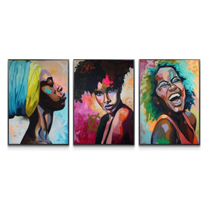 3 Panels Canvas Painting Wall Posters and Prints abstract African women HD Wall Art Pictures For Living Room Dining Restaurant Home Decor