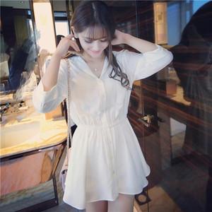 Donne camicia bianca Dress vestito casuale da estate a manica lunga solido V Neck Mini abiti da donna Abbigliamento
