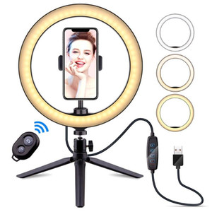 Dimmable 10inch 26cm USB LED Selfie Ring Light Lamp Camera Phone Video Makeup Light with Tripod for Live Studio Youtube
