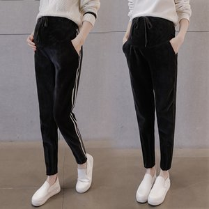 111# Autumn Winter Thicken Warm Velvet Maternity Pants Adjustable Belly Pants Clothes for Pregnant Women Pregnancy Trousers LJ201118