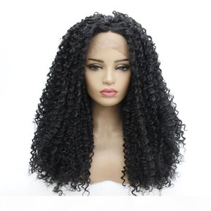 HD Transparent Full Synthetic Lace frontal Wig Black Afro Kinky Curly Simulation Human hair Lace Front Wigs 14~26 inches 181120-1