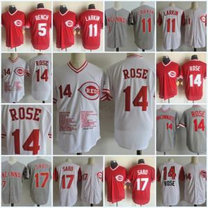 Mens # 14 Pete Rose Comemorative Jerseys costurado # 5 Johnny Bench # 11 Barry Larkin # 17 Chris Sabo Cincinnati Jersey S-3XL