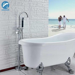 Chrome Polish Bathtub Shower Faucet Floor Standing Bath Tub Spout Shower Dual Handle Mixer Tap Bathroom Faucet Mixer Tap1