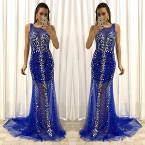 2021 Gorgeous Royal Blue Sleeveless Tulle Mermaid Evening Dresses Sexy Illusion Long Formal Prom Gowns vestidos de fiesta With Beads