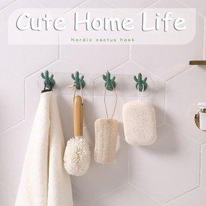 Home Cute Cactus Hook Nordic Style Creative Seamless Hook Wall Decoration Key Towel Hanging Racks Free Punch Bathroom Wall Rack