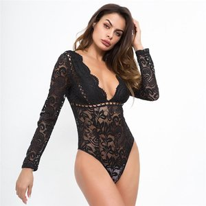 PADEGAO Sexy Lace Bodysuit See-Through Clothing Hollow Out Slim Rompers Long Sleeve Bodycon Bodysuit V-Neck Bodysuits PDG988