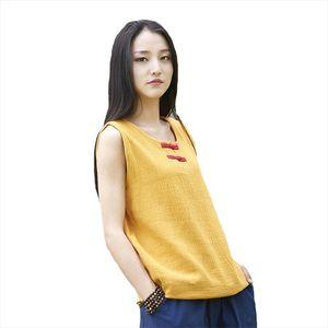 Women Cotton Linen T Shirts Sleeveless O Neck 2020 Summer New Vintage Button 6 Color Brief Casual Women T Shirts