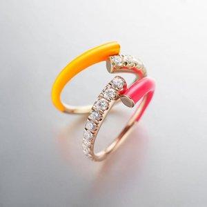 Anillos de racimo 2021 Moda fluorescente de verano Mujeres Joyería de neón colorido anillo de esmalte ajustado Tamaño