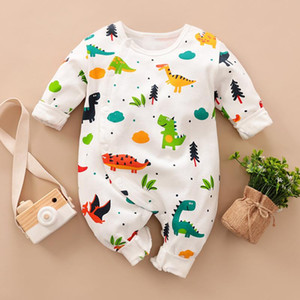 2020 Cross-Border Baby Jumpsuit Cotton Spring and Autumn Full Printing Casual Baby Romper Climbing Clothing Childrens One-Piece Hair
