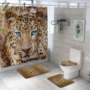 동물 모피 표범 샤워 커튼 목욕 매트 세트 욕실에 대 한 부드러운 목욕 카펫 재미 있은 커버 화장실 좌석 방수 욕실 커튼 200925