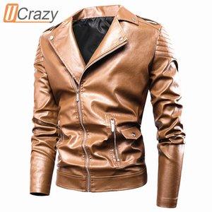Ucrazy Erkekler Sonbahar Yeni Casual Moto Deri Ceket Coat Erkekler Moda Vintage Kıyafet Fermuar Sıkıntılı Sahte Deri ceketler Erkekler 201.022