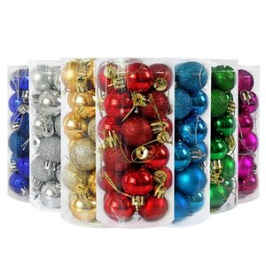 24pcs 3cm Christmas Tree Decor Bauble Gold Silver Plastic Hanging Ball Ornaments Decorations for Home New Year Navidad