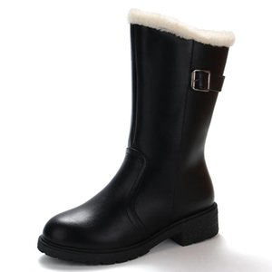 Women's snow Boot Ladies Gothic Punk Winter Mid-Calf Leather booties Warm Fur Plush Insole buckle Shoes Russia winter Footwear