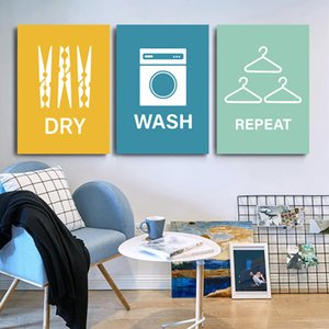 Dry Wash Repeat Washroom Poster Canvas Painting Laundry Poster Hanger Quote Wall Art Print Nordic Decoration Picture Home Decor