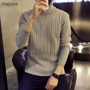 Maglioni Uomini Turtelneck Solid slacciano grande 3XL elegante di modo Teens svago coreano di stile Harajuku Trendy Mens maglione Ulzzang