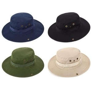 Fisherman Hats Outdoor Cap Fishing Sun Hats Bump Summer Wide Brim Hats Man Round Lace Caps Camping Mountaineering Sunscreen Hat OWD2156