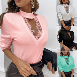 Sexy Halter Womens Designer Tshirts Fashion Long Sleeved Hollow Out Tops Lace Slim Clothing for Woman