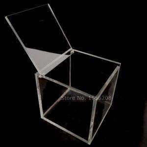 Nuovo acrilico trasparente bagagli Clear Box Piazza Cubo multiuso caso di esposizione Plexiglass di monili confezioni regalo Scatole Y1113