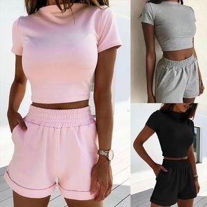 Women Summer Solid Color Casual 2 Piece Set Pocket Decor O Neck Short Sleeve Pullovers Short Top Elastic Waist Shorts Women suit