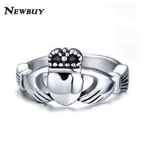 NEWBUY Vintage claddagh retro style steel ring heart crown wedding rings for women friendship love brand jewelry1