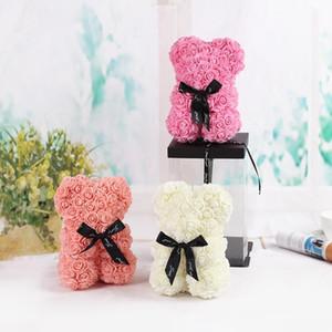 Творческий искусственный розовый медведь сохранил цветочный декор на день Святого Валентина Xmas Рогадовый подарок подруга подарок