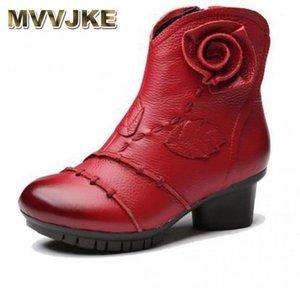 Bottes MVVJKE Mère Hiver Véritable Cuir Chaussures Femme Med Heel Bottes Pour Femmes Ankle1