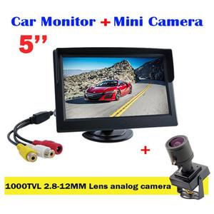 5 coche pulgadas pantalla LCD de alta definición digital de marcha atrás del monitor + 1000tvl 2.8-12mm lente varifocal mini cámara CCTV lente ajustable de levas