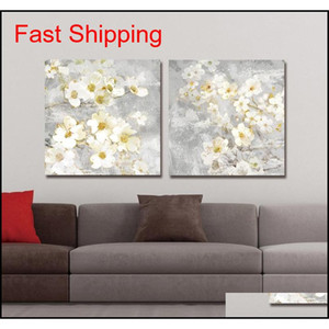 Dyc 10059 2pcs White Flowers Print Art Ready qylDtk bdesports