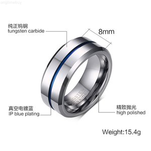 Stainless 2019 fashion Hot Steel sale 8MM Titanium Blue Lover Rings for Men jewelry Couples Cubic Zirconia Wedding Rings Bague Femme