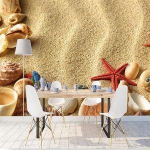 Estilo 3D Photo Mural da praia dos miúdos Wallpapers Starfish Conch TV Wall Background Wallpaper para Paredes Nordic Paisagem Natural 3D