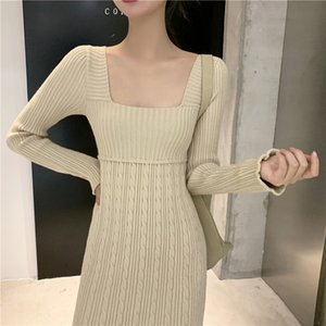 2021 New Casual Sweater Women Midi Long Sleeve Knitted Female Autumn Office Lady Elegant Winter Dress Korean 6t8w