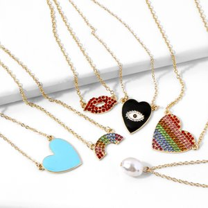 Lips Peach Heart Pearl Rainbow Pendant Necklace Women Lady Simple Style Gold Party Necklaces Fashion Jewelry