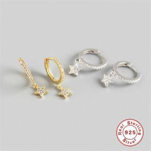 Februaryfrost Brand Style 925 Sterling Silver Zirconia Star Stud Earrings for Women Clear Zircon Five-pointed Star Earring Party Jewelry