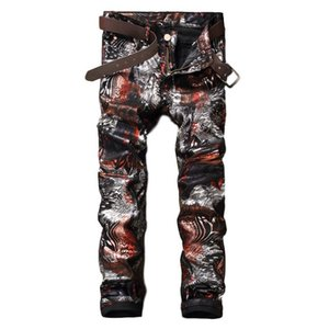 Idopy Men Coated Jeans Punk Printed Waxed Fashion Night Club Designer PU Stage Performance Pants For Male