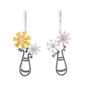 Hot Sale 2020 Brand Designer Rose Earrings For Women 925 Silver Jewelry Romantic Flower Chandelier Long Earring Fashion Wedding Jewellery