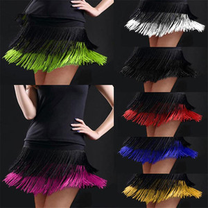 Latin Fringe اللباس المزدوج الشرابة الرقص اللاتينية تنورة تنورة مهددة يحتوي على ممارسة الرقص اللباس رداء امرأة اللاتينية