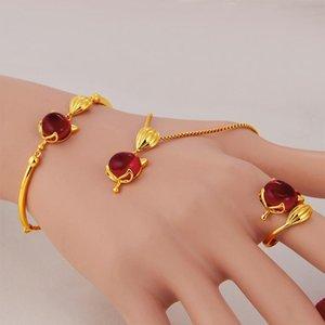 Vietnam Alluvial Gold Femmes Bijoux No Fade Branch Golden Charms Anneaux Bracelets Pendentif Collier Paramètres de bijoux
