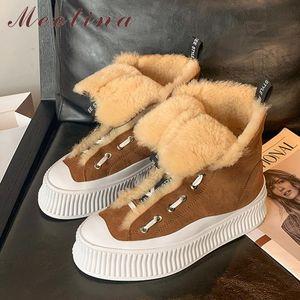 Meotina Genuine Leather Snow Boots donne piani della piattaforma Stivaletti stringati Short Round Toe Scarpe Donna inverno della pelliccia giallo