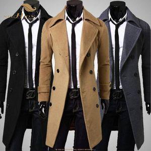 SISHION Long Slim Men Wool Trench Coat Double breasted Turn-down Collar QY0323 Fashion Autumn Winter Coat Long Wool-Blends Men