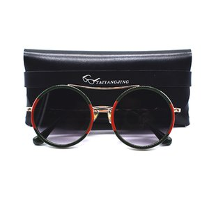 wholesale Vintage Sunglasses Women With Bag Twin Beams Round Glasses Brand Designer Metal Frame Shades Sun glasses gafas de sol mujer