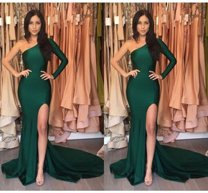 2021 Hunter Green One shoulder Prom Party Dresses Cheap with Long sleeves Side Slit Simple Evening Formal Graduation Dress