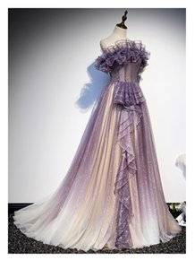 Luxury purple glitter beading embroidery ruffle ball gown opera fairy stage medieva Renaissance long dress Antoinette cosplay