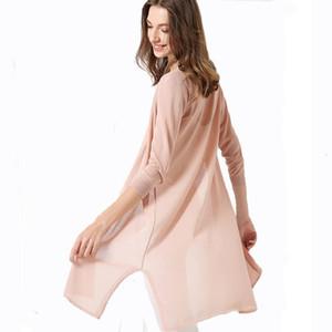 Gaberly Gelo Silk Summer Knit Cardigan Womens Long Seção Fina Seção Fora da Camisola Solta Marca Cardigans