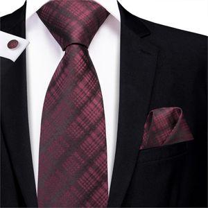 Men Ties Deep Red Plaid Necktie Black Checked Silk Neck Tie Handkerchief Cufflinks Set Ties for Wedding Business Hi-Tie C-3204