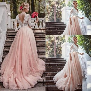 2021 Blush Pink A Line Wedding Dresses Long Sleeves Lace 3 4 Long Sleeves Scalloped V Neck Sweep Train Tulle Wedding Gown vestidos