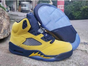 College Cheap 5 Amarillo Sp Michigan Navy Basketball Shoes Good Quality 5s Inspire Jumpman Men Designer Sports Sneakers Trainer with