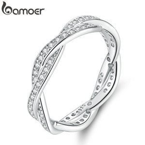 bamoer 8 STYLE BRAIDED PAVE LEAVES My Princess Queen Crown SILVER RING Twist Of Fate Stackable Ring ANNIVERSARY SALE 2019 T200116