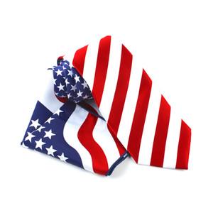 Fashion Men 9cm Ties Formal Dress Luxury Tie Striped Star American Flag Necktie Square Hanky Bowtie Set Mens Accessories
