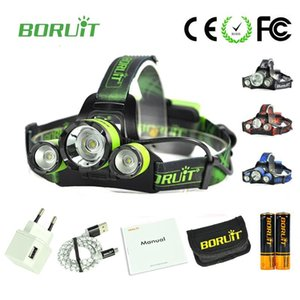 New Boruit B21 3 LED Searchlight Lantern Bateria LED Headlamp 6000 Lumens Testa Lâmpada 18650 Bateria Recarregável Camping Light1